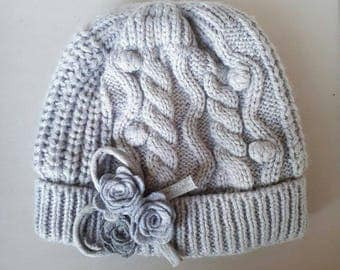 Baby hats with floral applique