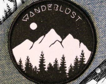 Wanderlust Patch - Mountains, Trees and Moon - Iron on, Sew On