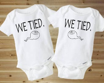 Twin Onesies - Funny Onesies - Funny Baby Onesies - We Tied - Cute Baby Onesie - Baby Boy - Baby Girl - New Baby Gift - Twin Baby Gift