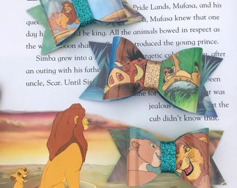 Lion King Book Page Bows-Waterproof