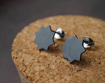 Oxidised Star Earrings - Black Star Earrings - Small Star Studs - Simple Silver Earrings - Sterling Silver Stud Earrings - Sun Star Earrings