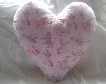 Unicorn pink/purple heart cushion