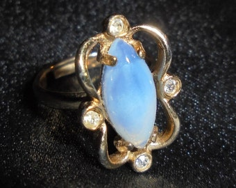 Vintage Sarah Coventry Blue Opal Glass Ring