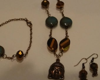 Necklace Buddha Pendant Teal and Copper