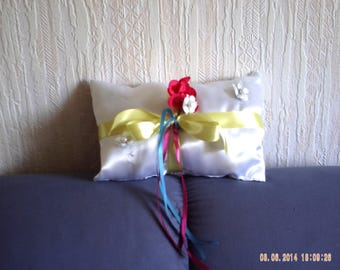 Wedding ring pillow white satin fabric cushion