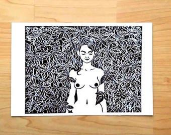 Linogravure - Mur de feuilles - Impression à la main - 16 x 24 cm