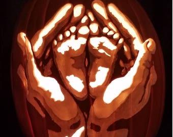 Mommy's hands, pumpkin, Halloween