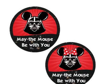 Darth Vader Mickey Button - Darth Vader Minnie Button - Disney Park Button - Theme Park Pin - Star Wars Weekends Pin - Couples Buttons