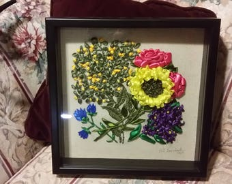 Satin ribbon embroidery bouquet 3D picture