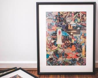 Large framed Marvel Superhero comic collage, Iron Man, Wolverine, bedroom, man cave, office, custom art, Birthday gift, free shipping to UK