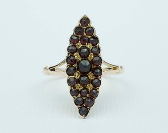 Bohemian Garnet Navette Ring 9ct