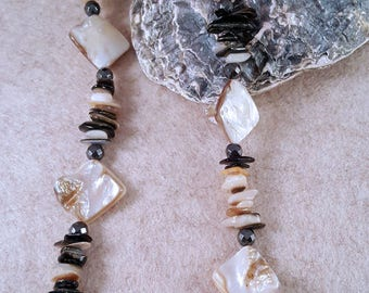 Gemstone Necklace of mother of pearl, coral Splinter and hematite-925 silver