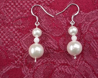White Sea Shell Pearl Sterling Silver Earrings-White Pearls Earrings-Sterling Silver Earrings-925 Silver Earrings-White Earring-Bridal earr.