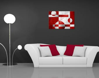 Wall painting abstract, red, digital art