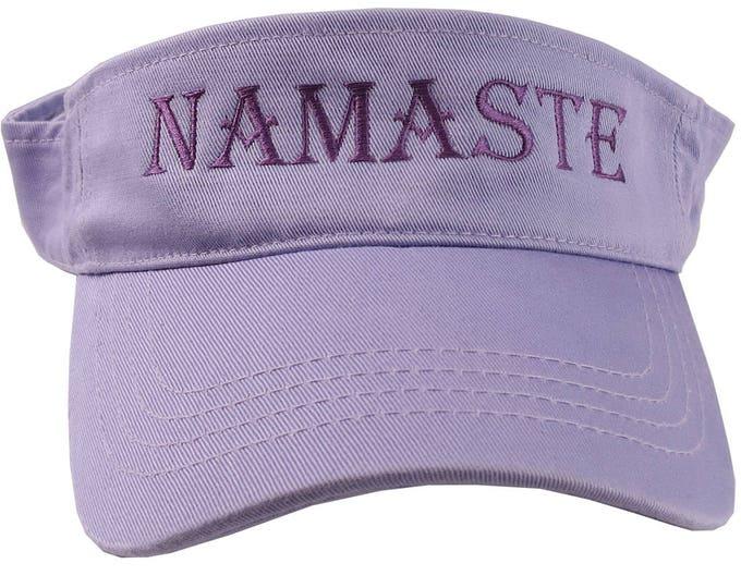 Joyful Namaste Expression Purple Mauve Embroidery on an Adjustable Lavender Pastel Unisex Visor for the Yoga, Meditation, and Zen Enthusiast