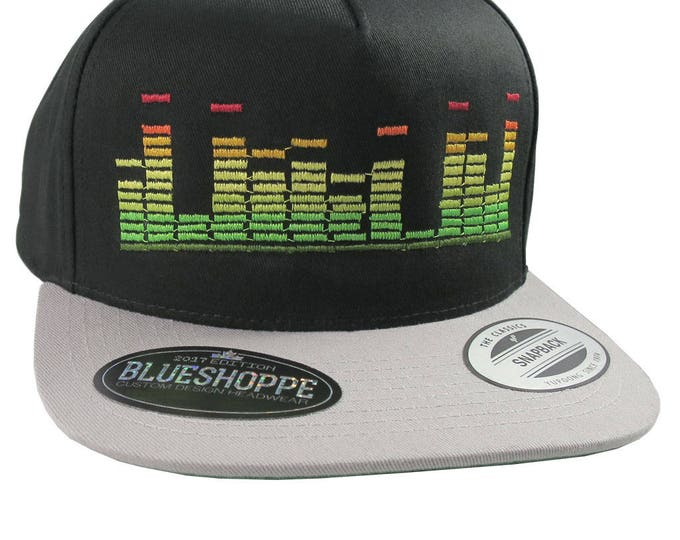 Equalizer DJ 45 Spacer Music Vibes Embroidery on an Adjustable Black and Silver Structured Flat Bill Snapback Urban Street Fashion Ball Cap