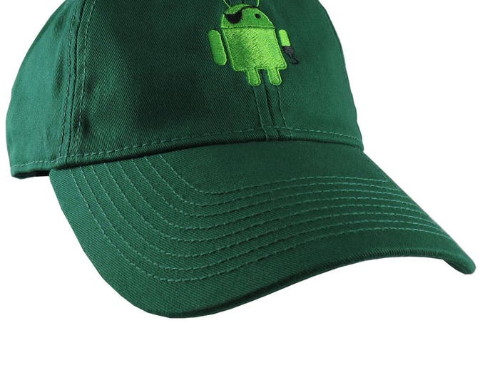 Pirate Android Robot Icon Humorous Geek Embroidery Design on an Adjustable Green Unstructured Baseball Cap Dad Hat