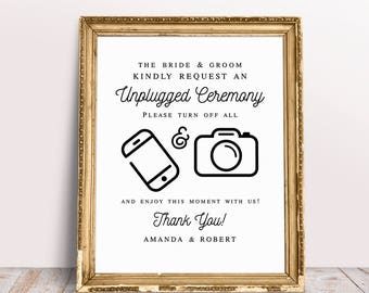 Unplugged Ceremony Sign, Turn Off All Cell Phones And Cameras, Unplugged Wedding Sign, Turn Off Cell Phone Sign, Wedding Signs, Unplugged