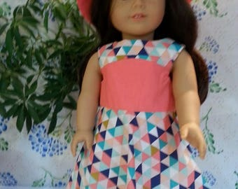 """Geometric Print and Pink Dress and Hat for 18"""" and American Girl Dolls"""