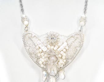"""Necklace with quartz and pearls """"White Butterfly""""."""