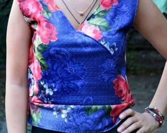 Flower Printed Sweetheart V-Neck