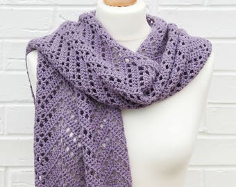 Lavender Scarf, Extra-Long Lace Crochet Scarf, High Quality Merino Wool and Soft Cotton, All Seasons Long Chevron Scarf, Ladies Accessories