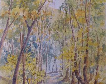 "Original plein air watercolour  ""Upton woods, leaf fall, Ringstead""  dorset art  autumn colours trees landscape"