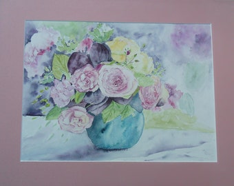 watercolor flowers: roses bouquet