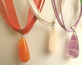 Tear drop gem stone pendant