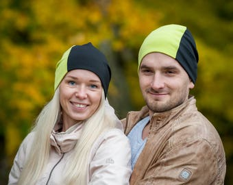 Green/black unisex beanie hats Set of 2 hats Matching couple beanie hats Adult scull hat Men slouchy beanie hat Women slouchy jersey beanie
