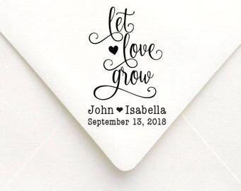 Let Love Grow Stamp, Custom Wedding Stamp, Self Inking Stamp, Wedding Favor, Personalized Save the Date Stamp, RSVP Stamp