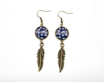 Blue and feather #1391 bird earrings