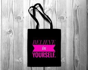 Fashion Women Canvas Shopping Handbag Travel Shoulder Bookish Bags Tote Quote bag Believe in Yourself