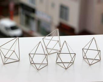 Silver Tone Wedding Center Pieces, 5 Himmeli Decor, Modern Minimalist Himmeli Mobile, Geometric Ornament, Wedding Decor