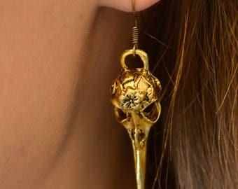 Gold Bird Skull Earrings
