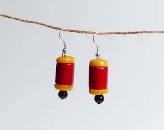 glass bead earrings * red & yellow