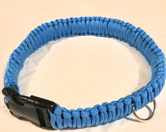 "Blue 18"" Paracord Dog Collar"