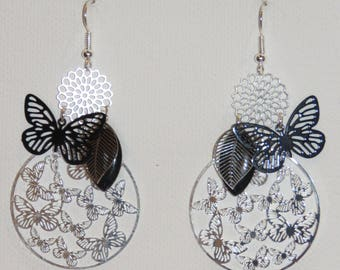 Leaf earrings, flowers, butterflies, prints, silver, black Earrings, dangle earrings, fine jewelry, Merryweather earrings