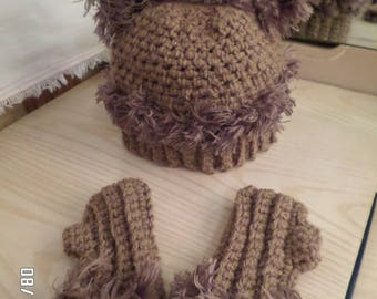 Baby Bear Hat and Fingerless Gloves