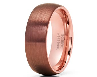 Rose Gold Tungsten Wedding Band Espresso Tungsten Ring Men & Women Tungsten Carbide Ring Brush Tungsten Wedding Ring
