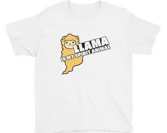 Llama Is My Spirit Animal Llamas Alpaca Lover Youth Short Sleeve T-Shirt