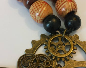 Steampunk Key and Gears on braided rope necklace