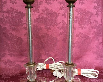 Vintage Pair of Candlestick Crystal Table Accent Lamps Etched Flowers Vines on Base and Column With Brass