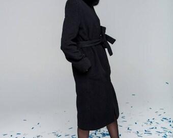 Winter Wool Coat with Arctic Fox collar
