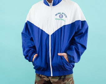 Volleyball, Blue Windbreaker, Windbreaker, Track Suit Retro, 90s Windbreaker, Track Jacket, Sports Jacket, White, Vintage Windbreaker, Nylon
