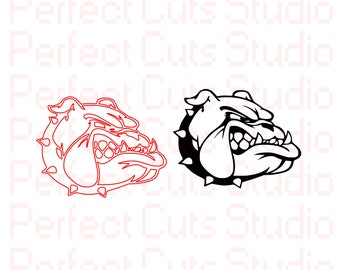 Bull Dog SVG & Studio 3 Cut File Stencil and Decal Cut Files BullDog Logo for Cricut Brother Silhouette Files SVGS Stencils Cutouts Bulldogs
