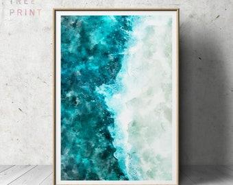 Beach Wall Art Print , Watercolor , Ocean Water , Nautical Decor , Beach Wall Decor , Beach Printable Art , Ocean Wall Art