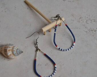 Drops with beads Miyuki-red, white, blue Marina