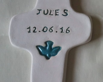 Personalized ceramic baptism cross