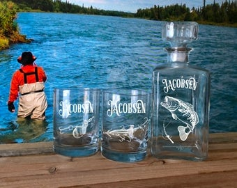 Personalized Fishing Whiskey Glasses & Decanter, Gifts for Men, Best Gifts for Men, Gift for Outdoorsman, Fisherman Gift, Whiskey Glasses